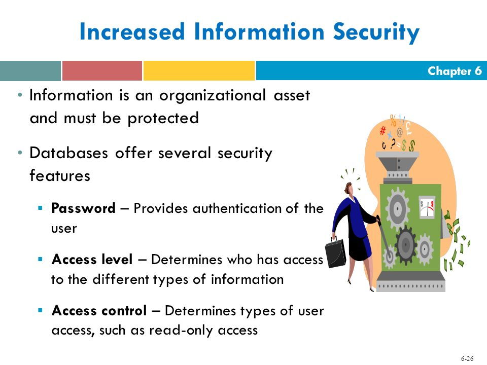 Chapter 6 6-26 Increased Information Security Information is an organizational asset and must be protected Databases offer several security features 