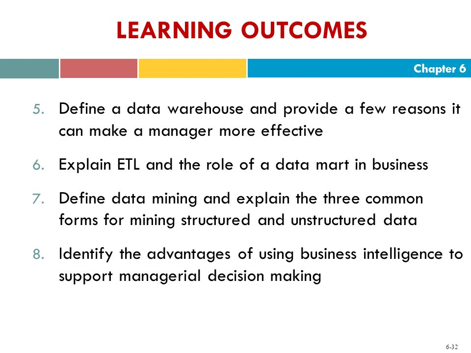 Chapter 6 6-32 LEARNING OUTCOMES 5. Define a data warehouse and provide a few reasons it can make a manager more effective 6. Explain ETL and the role