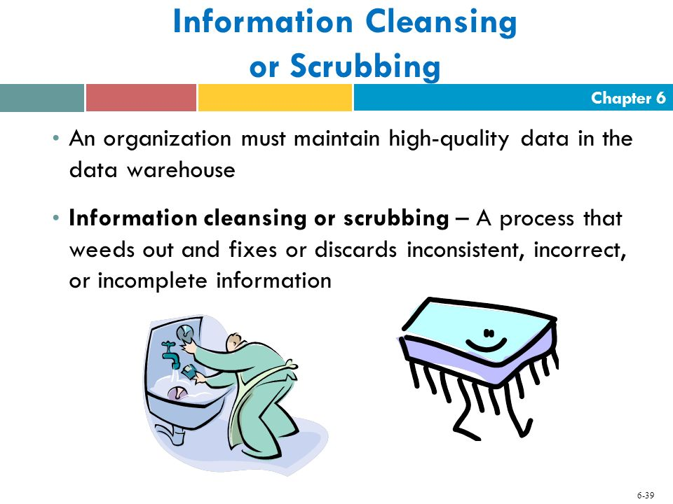 Chapter 6 6-39 Information Cleansing or Scrubbing An organization must maintain high-quality data in the data warehouse Information cleansing or scrub