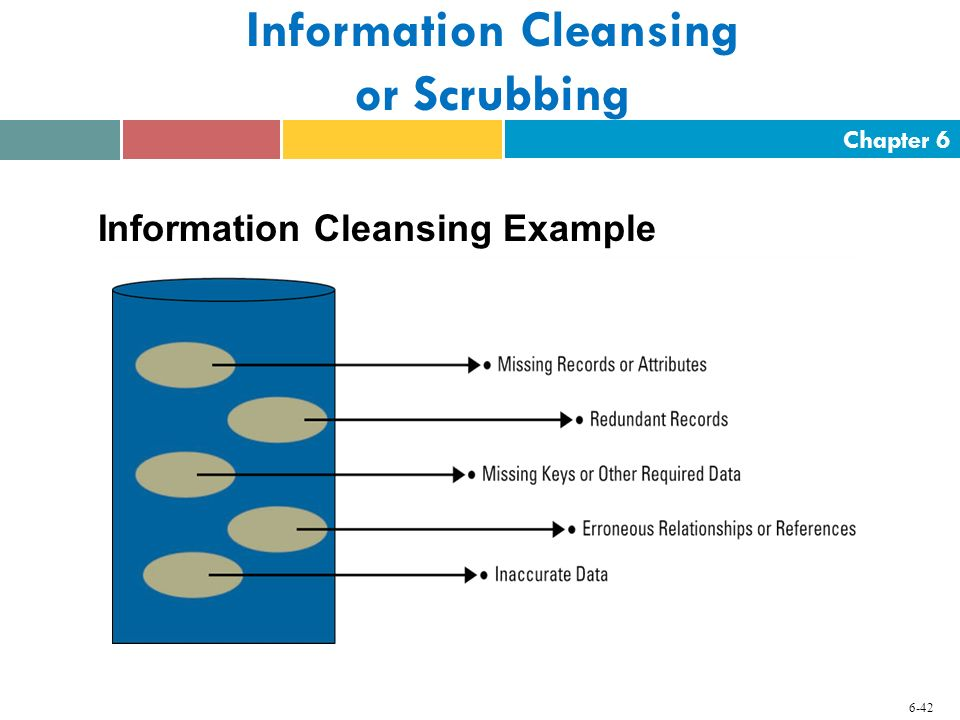 Chapter 6 6-42 Information Cleansing or Scrubbing Information Cleansing Example