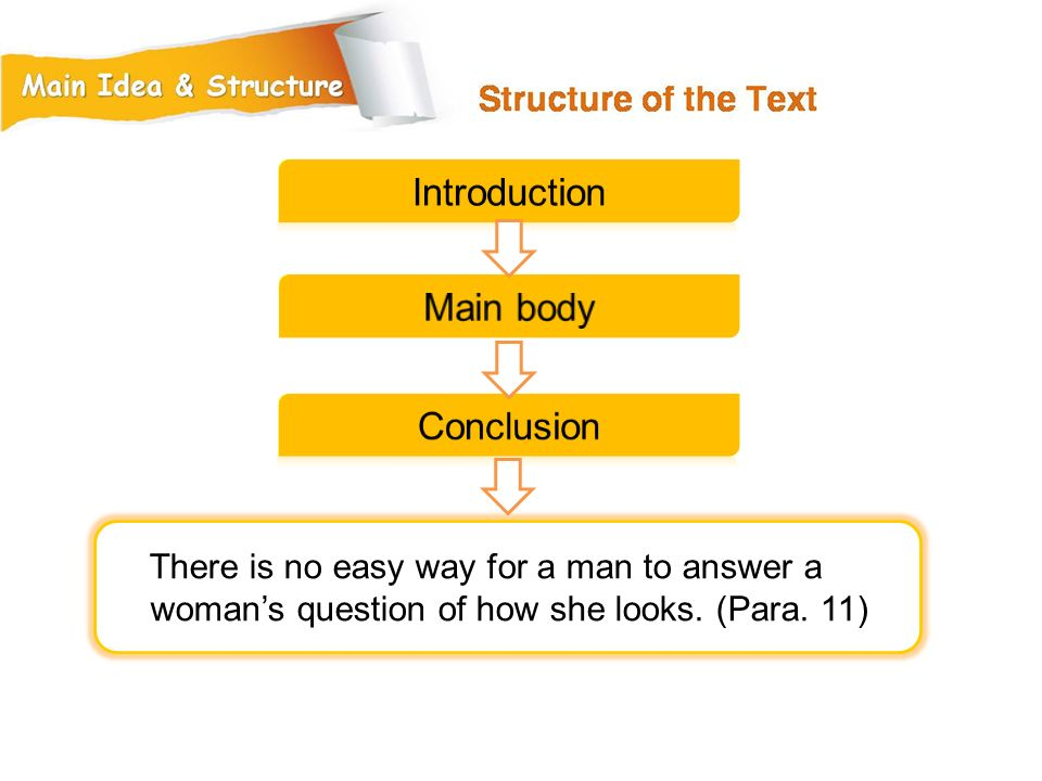 There is no easy way for a man to answer a woman's question of how she looks. (Para. 11)