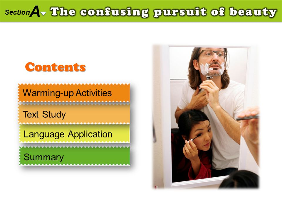 Contents A Section Warming-up Activities Text Study Language Application Summary