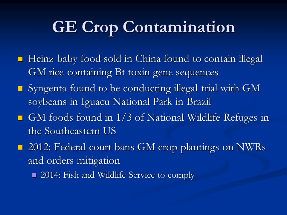 GE Crop Contamination Heinz baby food sold in China found to contain illegal GM rice containing Bt toxin gene sequences Heinz baby food sold in China found to contain illegal GM rice containing Bt toxin gene sequences Syngenta found to be conducting illegal trial with GM soybeans in Iguacu National Park in Brazil Syngenta found to be conducting illegal trial with GM soybeans in Iguacu National Park in Brazil GM foods found in 1/3 of National Wildlife Refuges in the Southeastern US GM foods found in 1/3 of National Wildlife Refuges in the Southeastern US 2012: Federal court bans GM crop plantings on NWRs and orders mitigation 2012: Federal court bans GM crop plantings on NWRs and orders mitigation 2014: Fish and Wildlife Service to comply 2014: Fish and Wildlife Service to comply