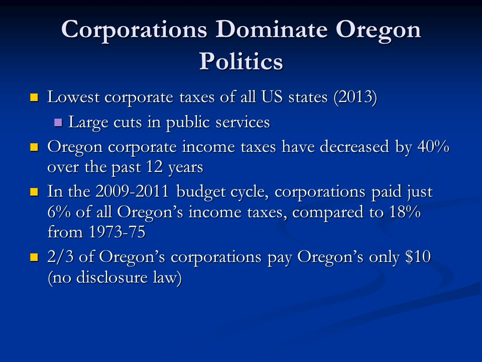 Corporations Dominate Oregon Politics Lowest corporate taxes of all US states (2013) Lowest corporate taxes of all US states (2013) Large cuts in public services Large cuts in public services Oregon corporate income taxes have decreased by 40% over the past 12 years Oregon corporate income taxes have decreased by 40% over the past 12 years In the 2009-2011 budget cycle, corporations paid just 6% of all Oregon's income taxes, compared to 18% from 1973-75 In the 2009-2011 budget cycle, corporations paid just 6% of all Oregon's income taxes, compared to 18% from 1973-75 2/3 of Oregon's corporations pay Oregon's only $10 (no disclosure law) 2/3 of Oregon's corporations pay Oregon's only $10 (no disclosure law)