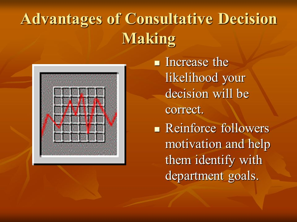 Consultative Decision Making The manager has the necessary experience and information to reach a conclusion.