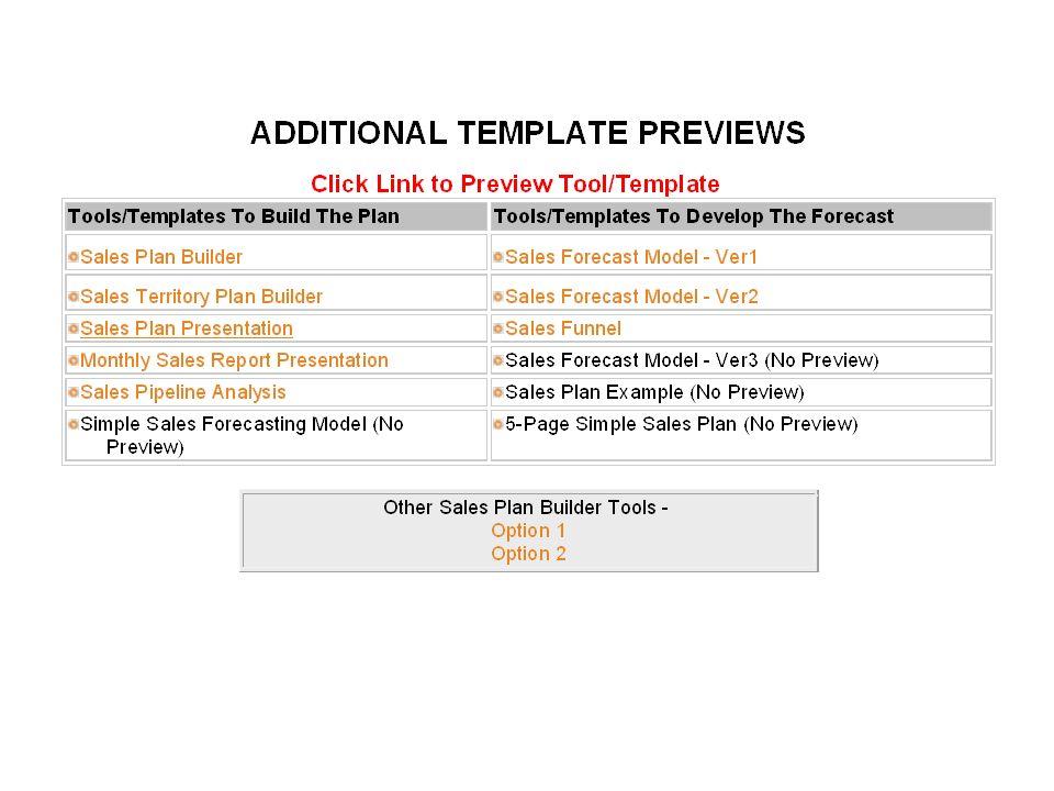 Simple Sales Plan
