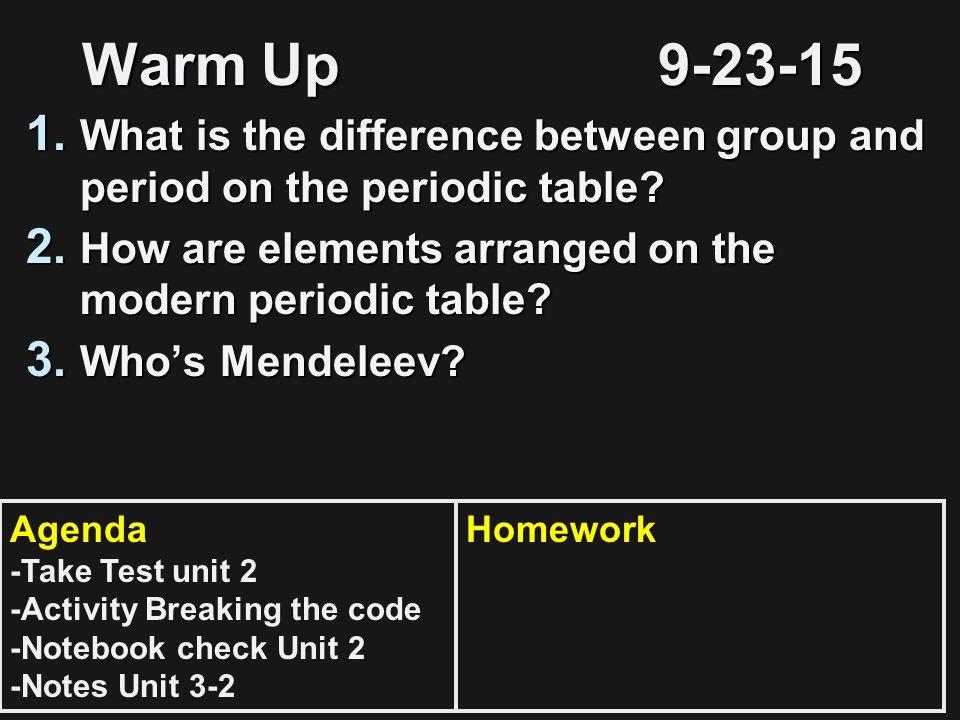 1 warm - Periodic Table Arrangement Activity