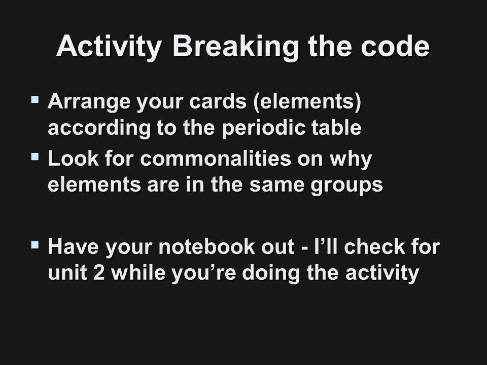 3 activity - Periodic Table Arrangement Activity