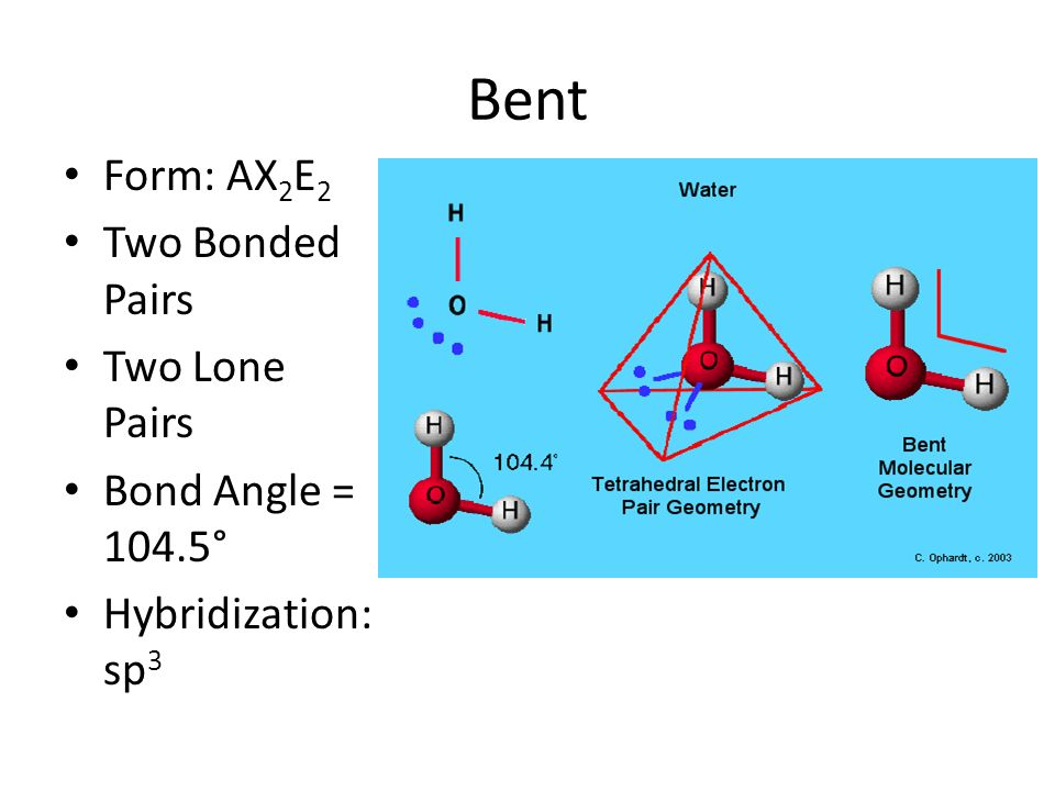 Bent Form: AX 2 E 2 Two Bonded Pairs Two Lone Pairs Bond Angle = 104.5° Hybridization: sp 3