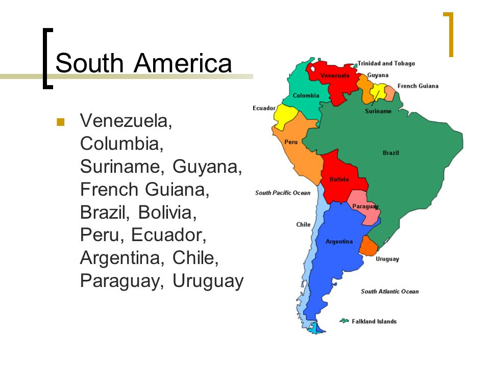 South America Team Geography South America Venezuela Columbia - South america french guiana map