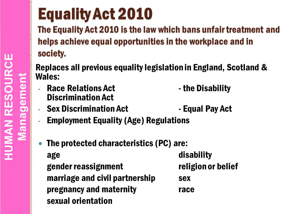 Race relations act sex discrimination act