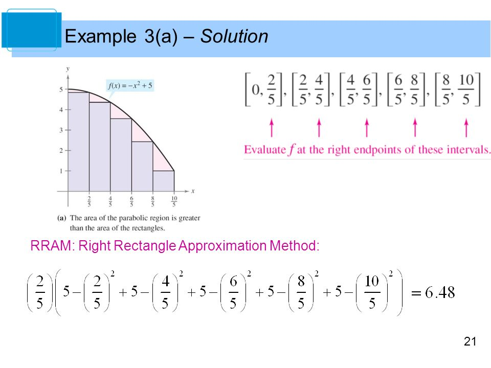 21 Example 3(a) – Solution RRAM: Right Rectangle Approximation Method:
