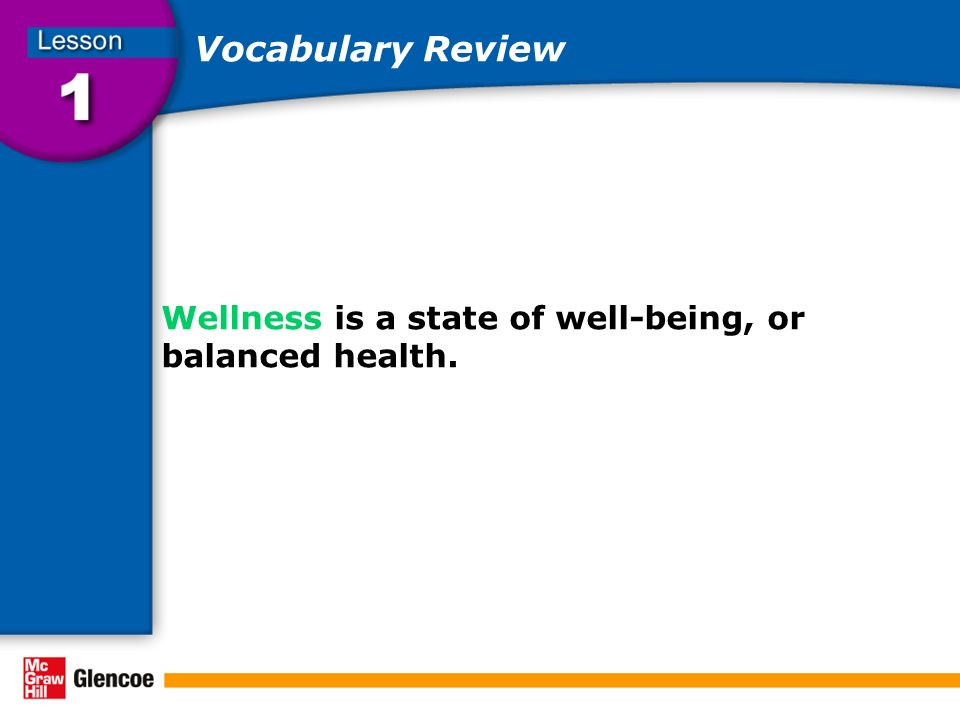 Vocabulary Review Wellness is a state of well-being, or balanced health.