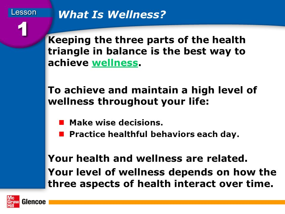 What Is Wellness? Keeping the three parts of the health triangle in balance is the best way to achieve wellness.wellness To achieve and maintain a hig