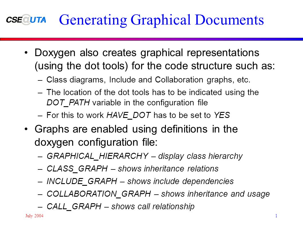 July doxygen a code documentation system doxygen generates july 20041 generating graphical documents doxygen also creates graphical representations using the dot tools ccuart Image collections