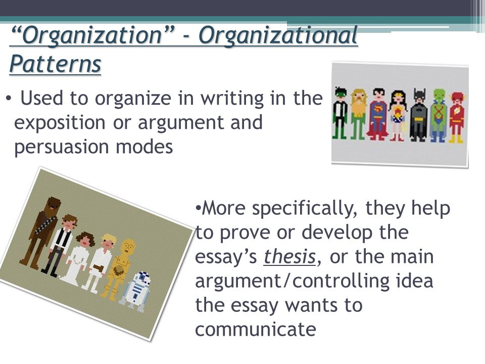 pattern of organization essay type Recognizing patterns of organization the thesis or main idea is usually a good predictor of the organization of an essay or pattern of organization.