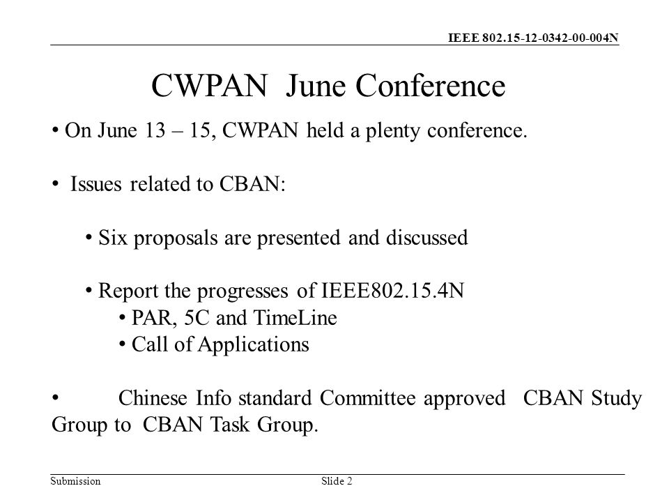 IEEE N Submission Slide 2 CWPAN June Conference On June 13 – 15, CWPAN held a plenty conference.