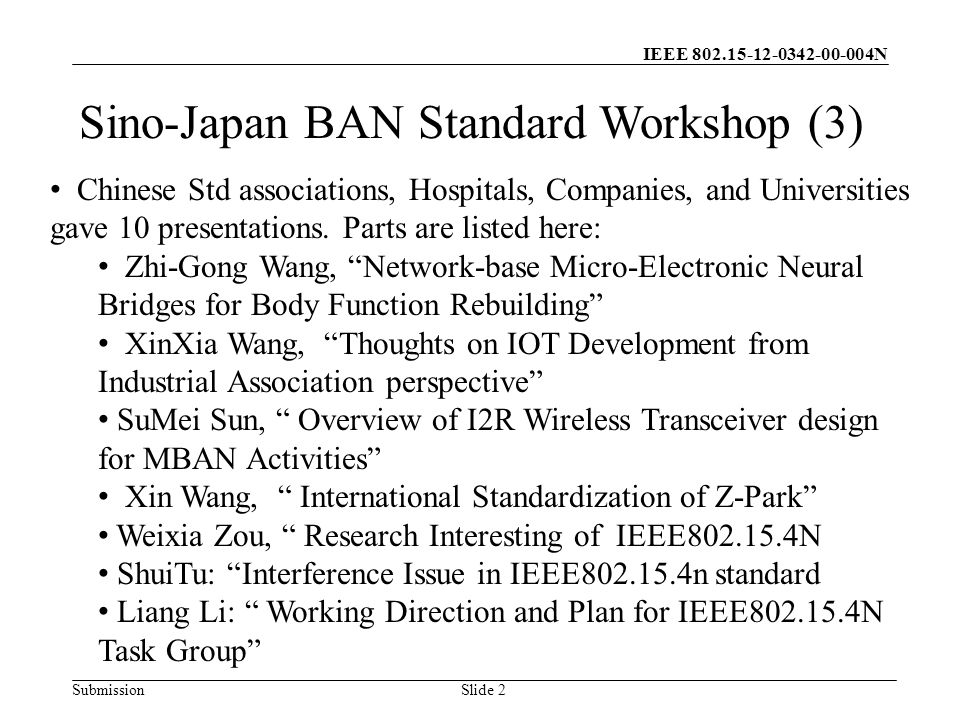 IEEE N Submission Slide 2 Sino-Japan BAN Standard Workshop (3) Chinese Std associations, Hospitals, Companies, and Universities gave 10 presentations.