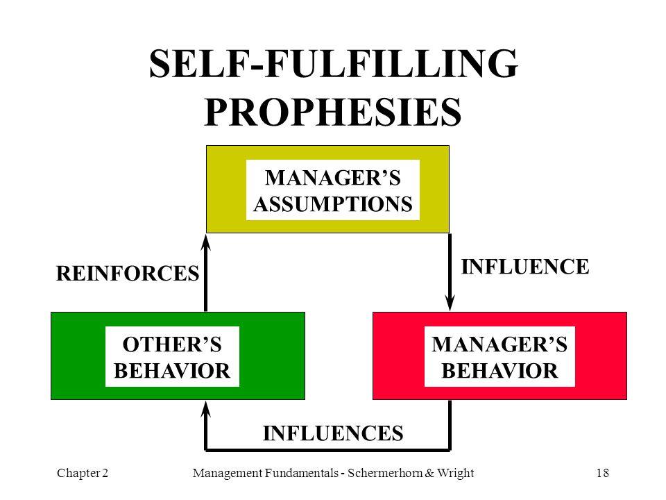 Chapter 2Management Fundamentals - Schermerhorn & Wright18 SELF-FULFILLING PROPHESIES MANAGER'S ASSUMPTIONS MANAGER'S BEHAVIOR OTHER'S BEHAVIOR INFLUE