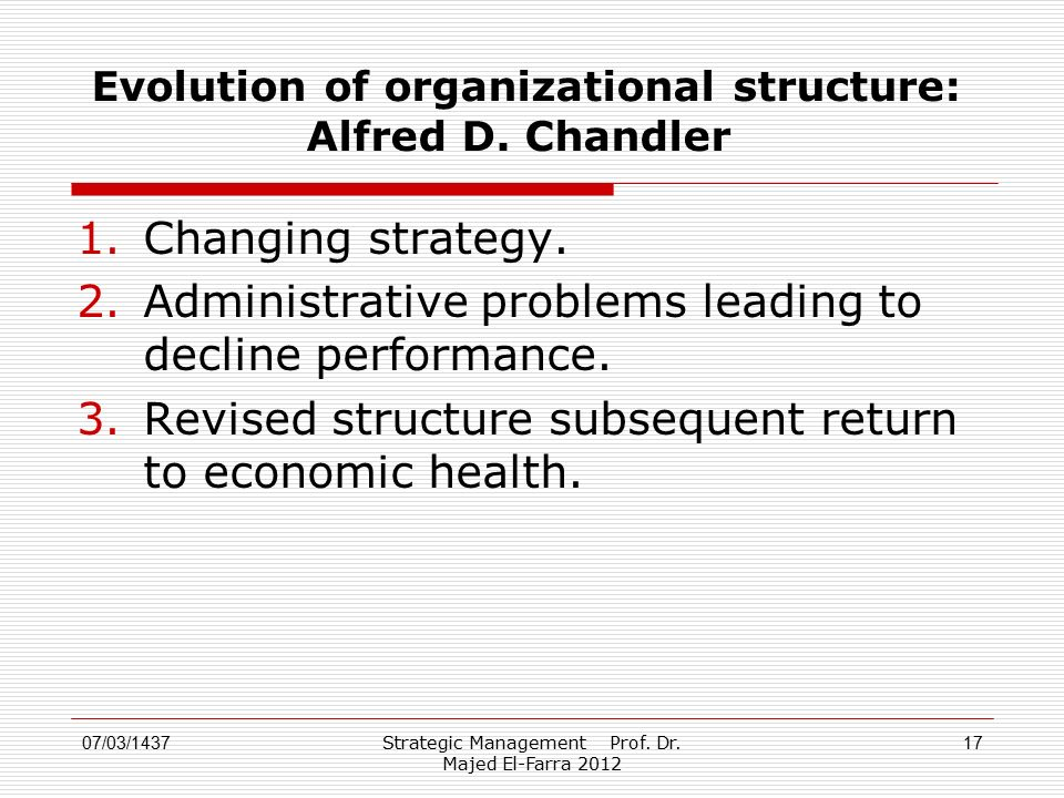 Strategic Management Prof. Dr. Majed El-Farra 2012 17 Evolution of organizational structure: Alfred D. Chandler 1.Changing strategy. 2.Administrative
