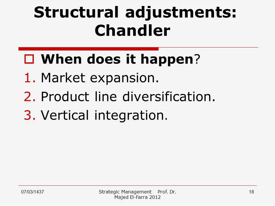 Strategic Management Prof. Dr. Majed El-Farra 2012 18 Structural adjustments: Chandler  When does it happen? 1.Market expansion. 2.Product line diver