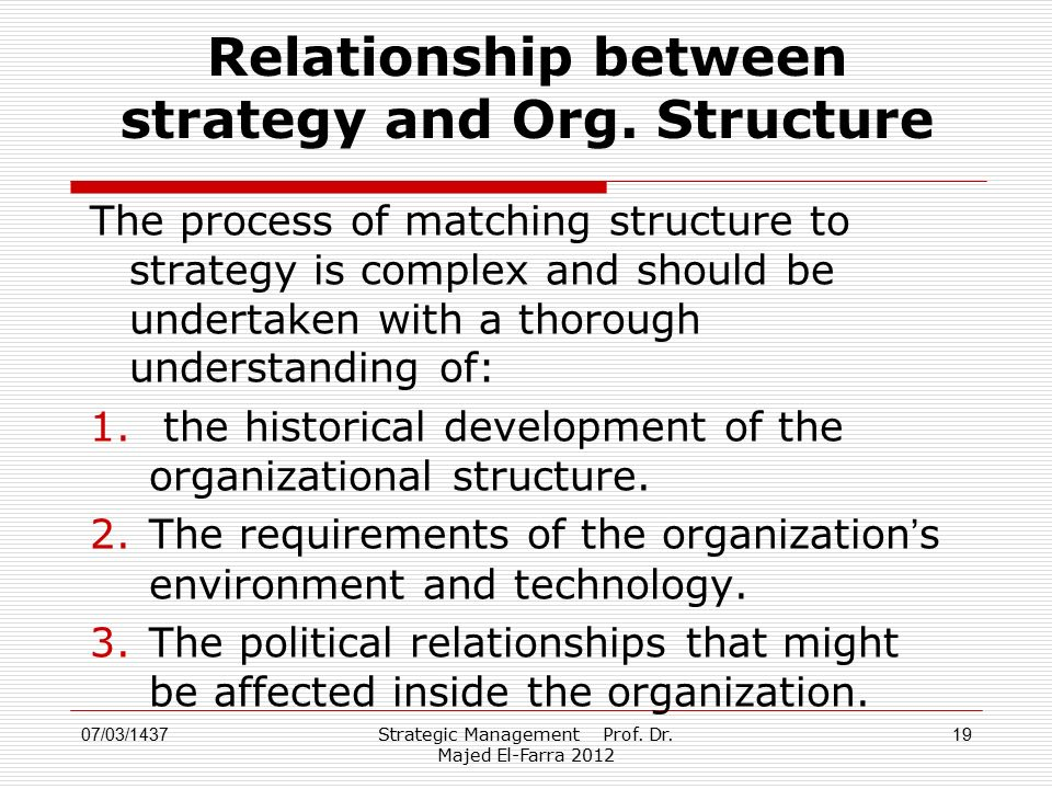 Strategic Management Prof. Dr. Majed El-Farra 2012 19 Relationship between strategy and Org.