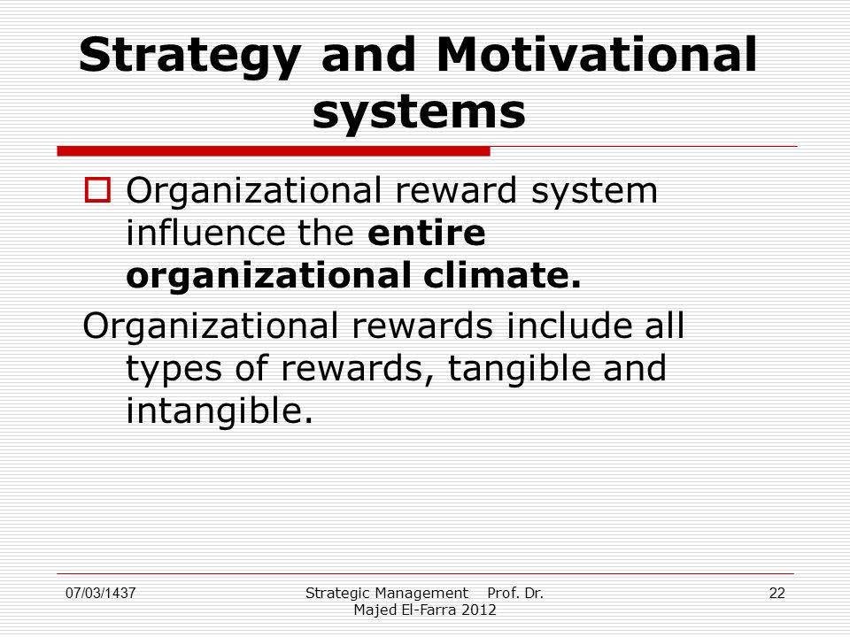 Strategic Management Prof. Dr. Majed El-Farra 2012 22 Strategy and Motivational systems  Organizational reward system influence the entire organizati