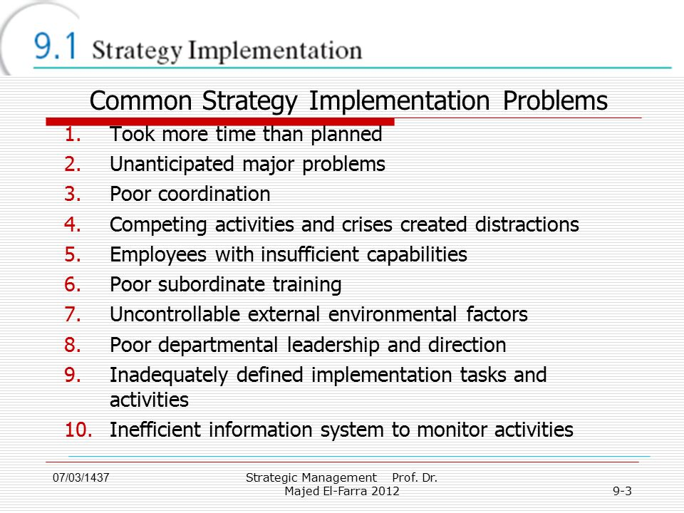 07/03/1437 9-3 Common Strategy Implementation Problems 1.Took more time than planned 2.Unanticipated major problems 3.Poor coordination 4.Competing activities and crises created distractions 5.Employees with insufficient capabilities 6.Poor subordinate training 7.Uncontrollable external environmental factors 8.Poor departmental leadership and direction 9.Inadequately defined implementation tasks and activities 10.Inefficient information system to monitor activities Strategic Management Prof.