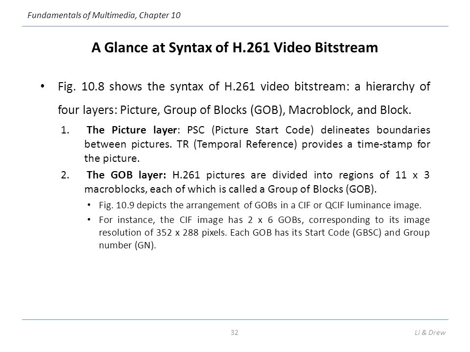Fundamentals of Multimedia, Chapter 10 A Glance at Syntax of H.261 Video Bitstream Fig.
