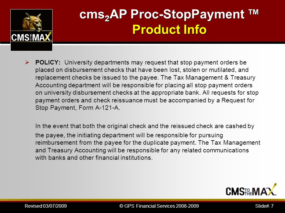 stop payment format