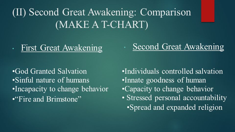 the first and second great awakening The second great awakening was a protestant revival movement during the early 19th century in the united states it stimulated the establishment of many reform movements designed to remedy the evils of society before the anticipated second coming of jesus christ.