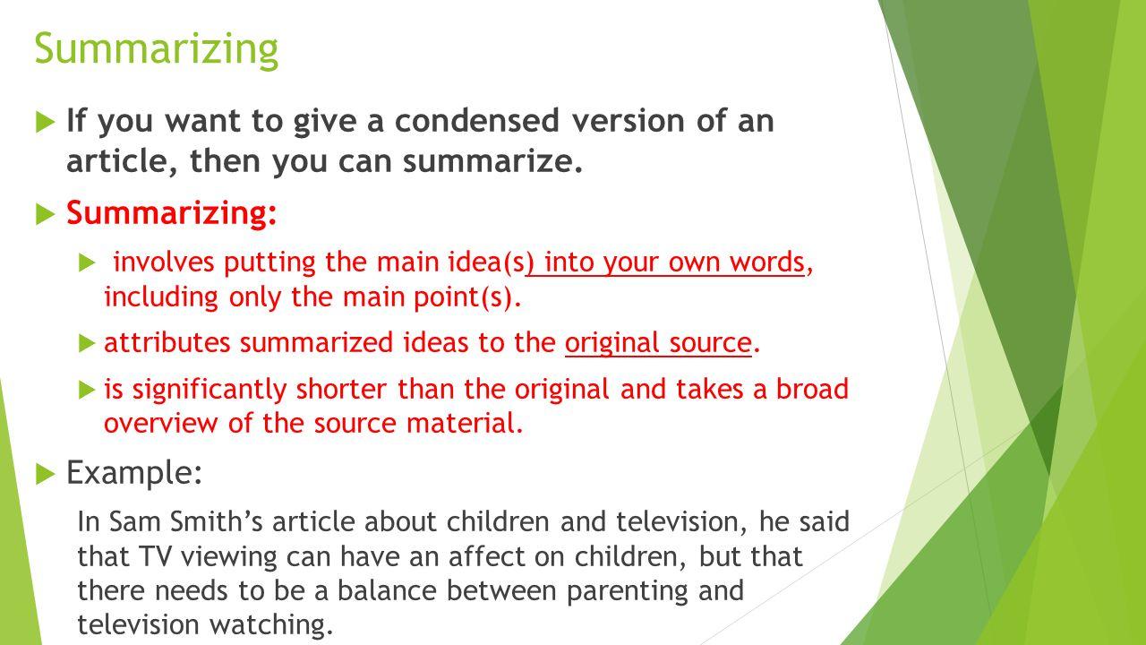 Summarizing an article