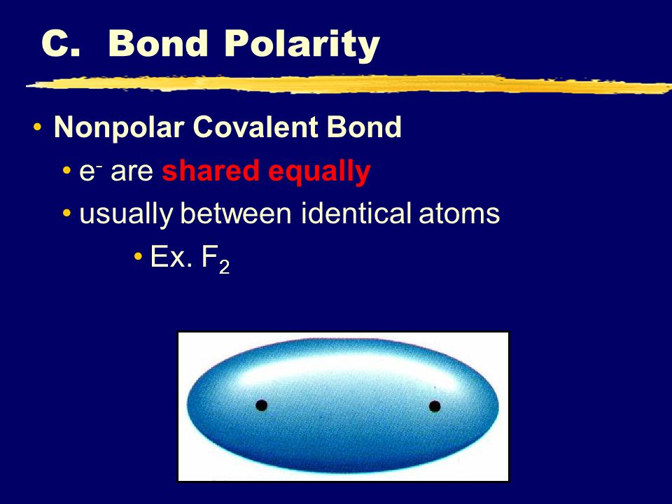 Nonpolar Covalent Bond e - are shared equally usually between identical atoms Ex.