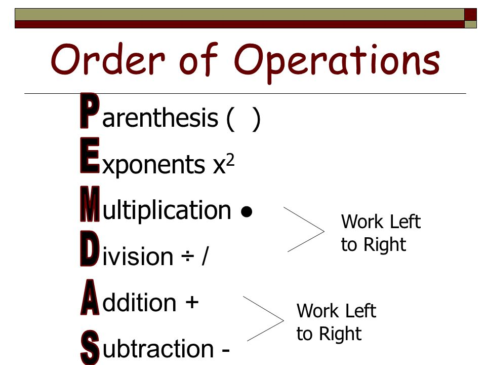 How to solve order of operations problems