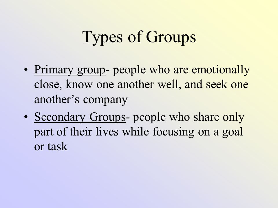 Types of Groups (continued) In-Group- exclusive group demanding intense loyalty Out-Group- group targeted by an in-group for opposition, antagonism, or competition In-Groups must have ways to distinguish themselves from the out-groups (ex: style of dress, language used, etc.)