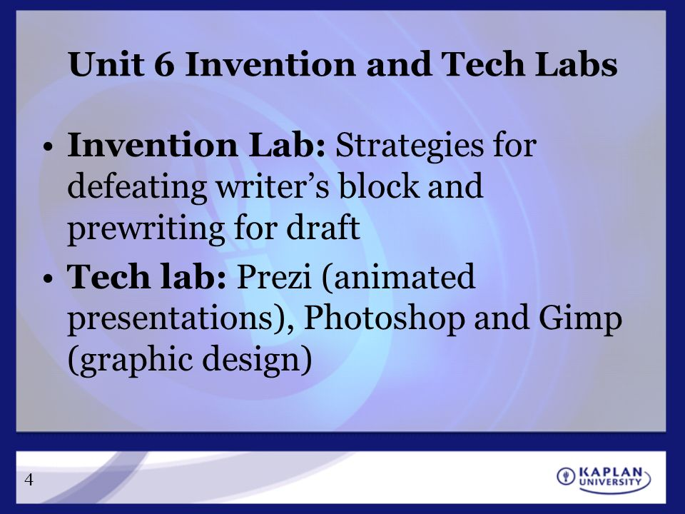 Cm 220 college composition ii unit 6 a blueprint for progress 4 unit 6 invention and tech labs invention lab strategies for defeating writers block and prewriting for draft tech lab prezi animated presentations malvernweather Images