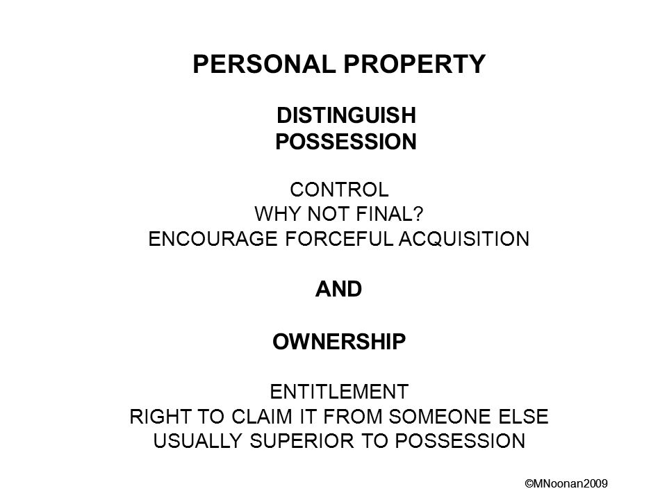 ©MNoonan2009 PERSONAL PROPERTY DISTINGUISH POSSESSION CONTROL WHY NOT FINAL.