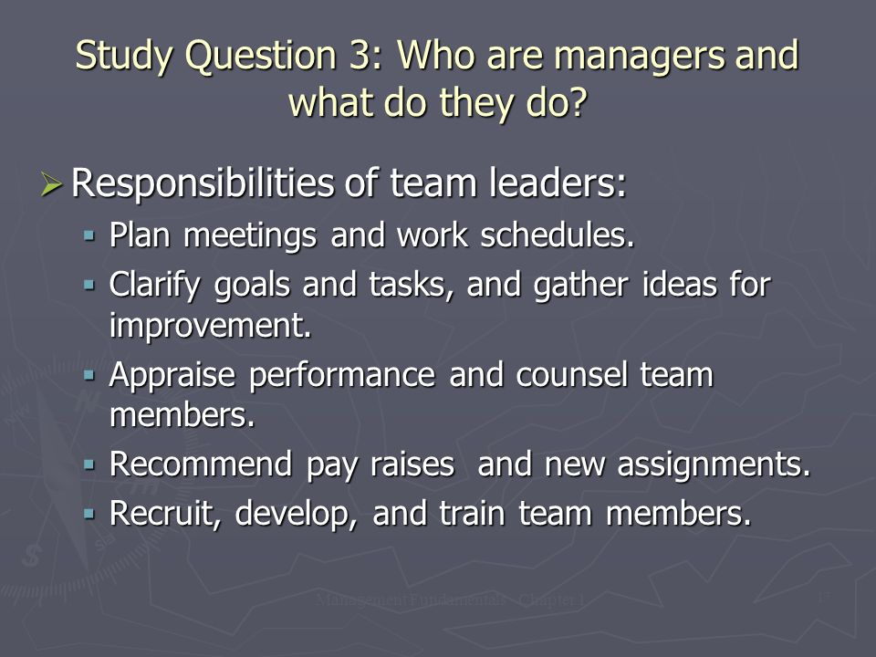 Management Fundamentals - Chapter 1 17 Study Question 3: Who are managers and what do they do?  Responsibilities of team leaders:  Plan meetings and