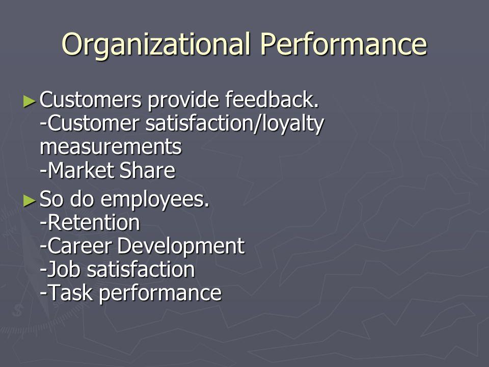 Organizational Performance ► Customers provide feedback. -Customer satisfaction/loyalty measurements -Market Share ► So do employees. -Retention -Care