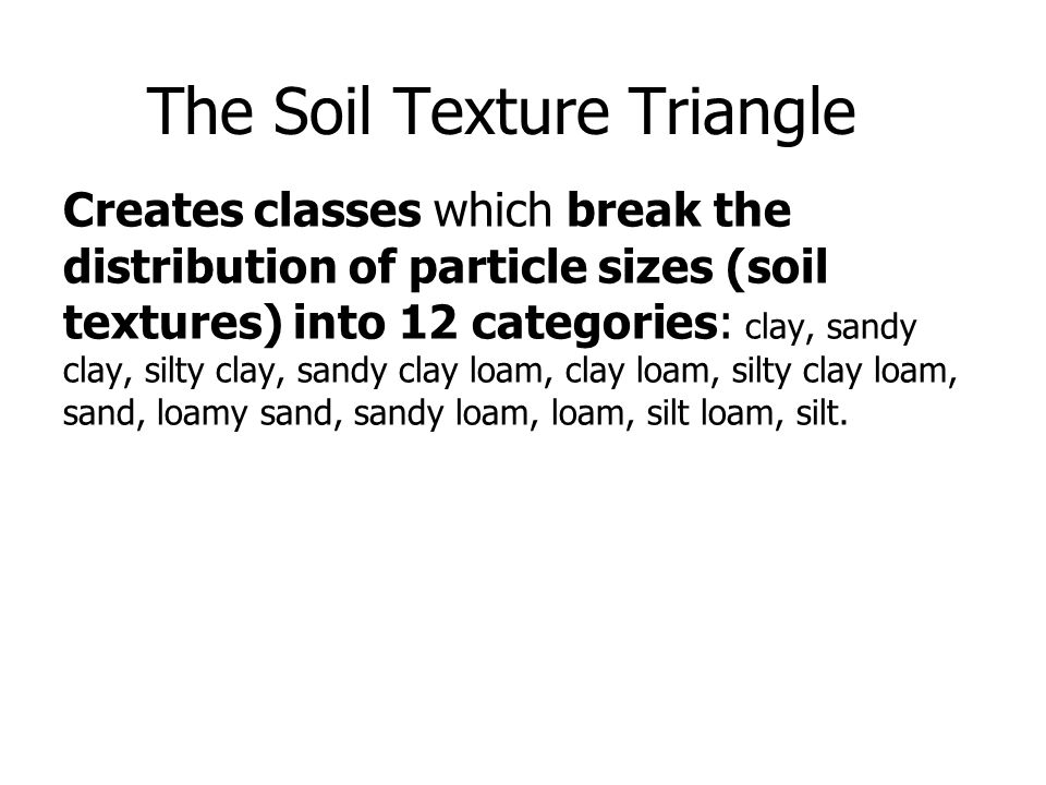 The Soil Texture Triangle Creates Classes Which Break The