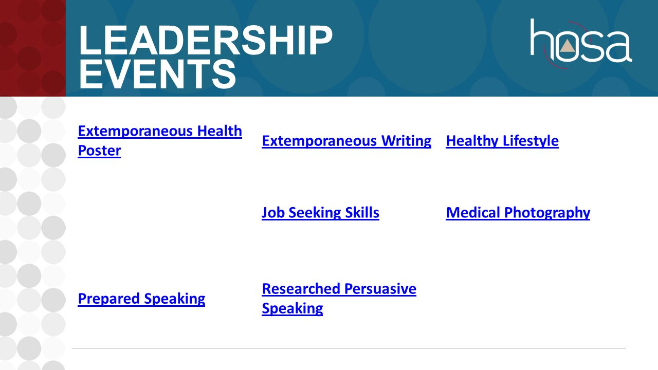 members attended the state leadership conference for the very 9 leadership events extemporaneous health poster extemporaneous writinghealthy lifestyle job seeking skillsmedical photography prepared speaking researched