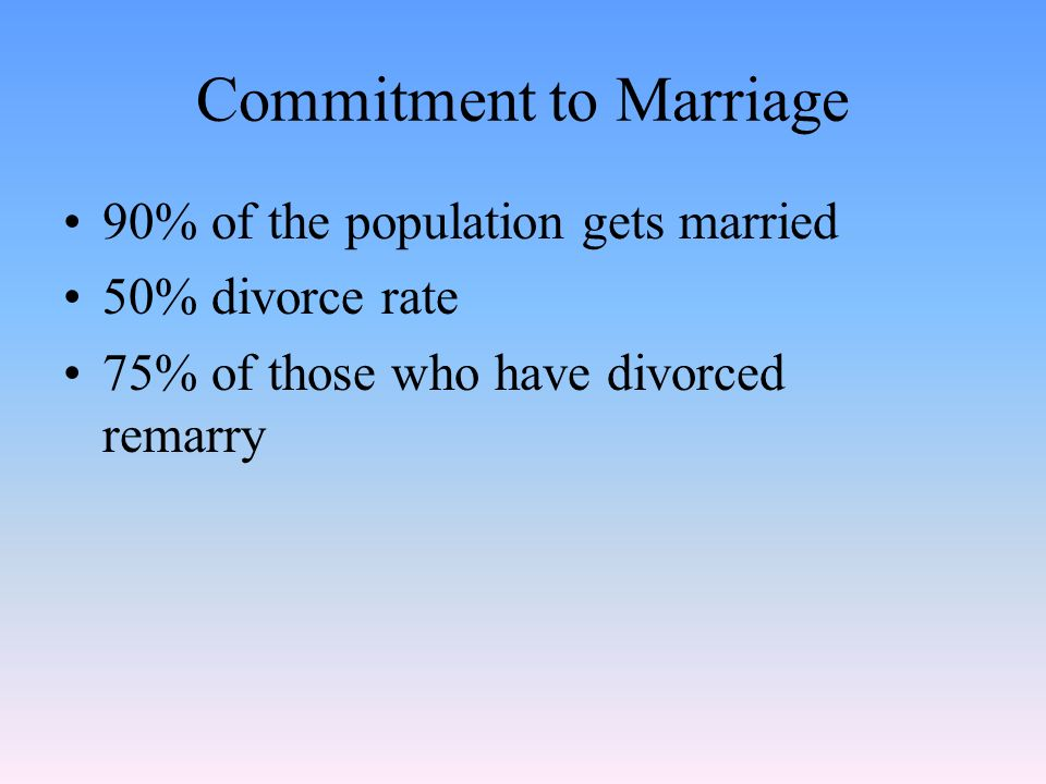 Commitment to Marriage 90% of the population gets married 50% divorce rate 75% of those who have divorced remarry