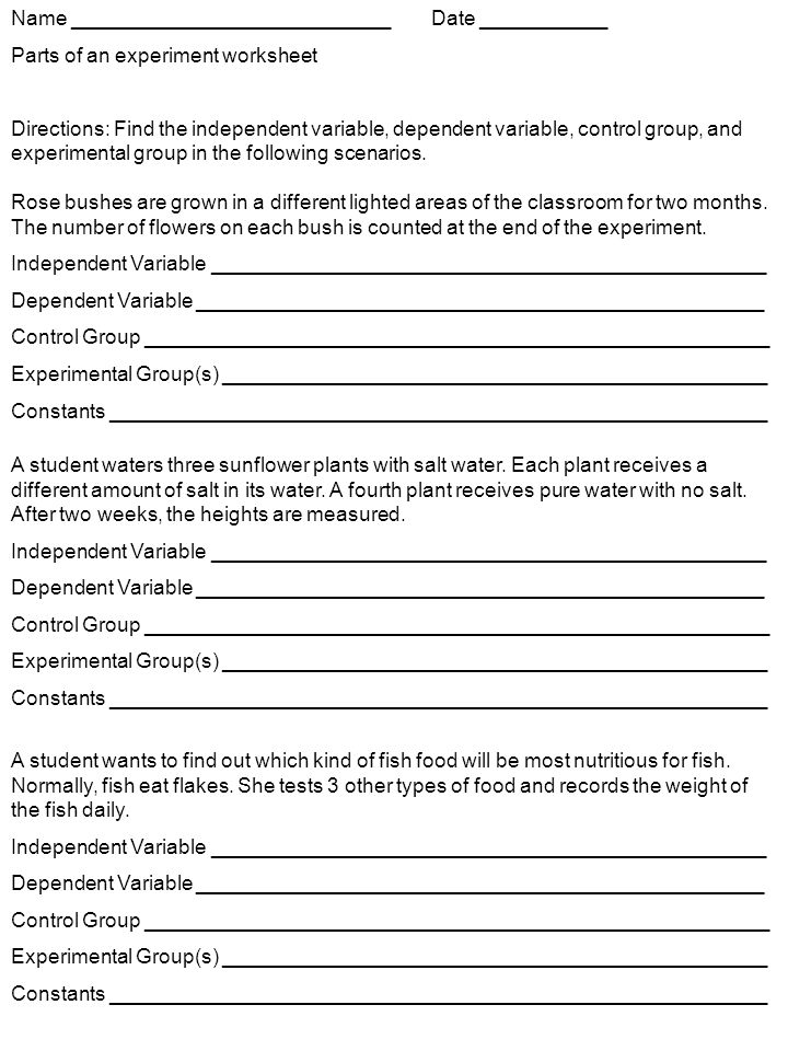 Name ______ Parts of an experiment worksheet Directions: Find the ...