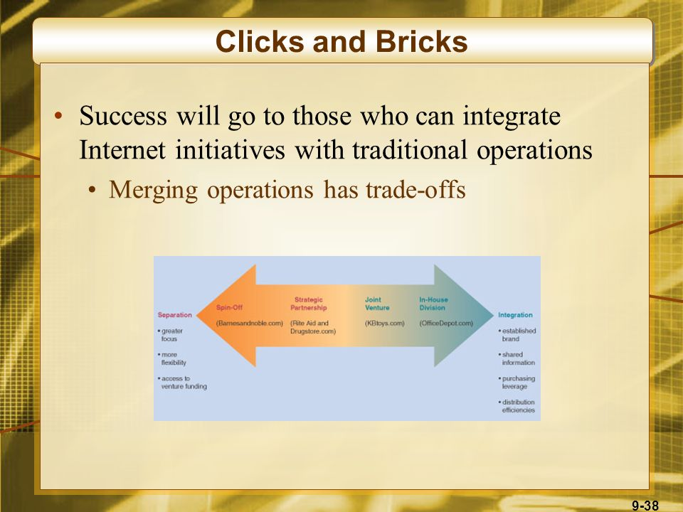 9-38 Clicks and Bricks Success will go to those who can integrate Internet initiatives with traditional operations Merging operations has trade-offs