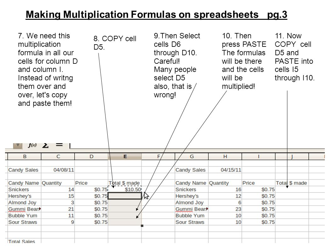 Workbooks copy formulas between workbooks : Making Multiplication Formulas on spreadsheets pg.1 1. We are ...