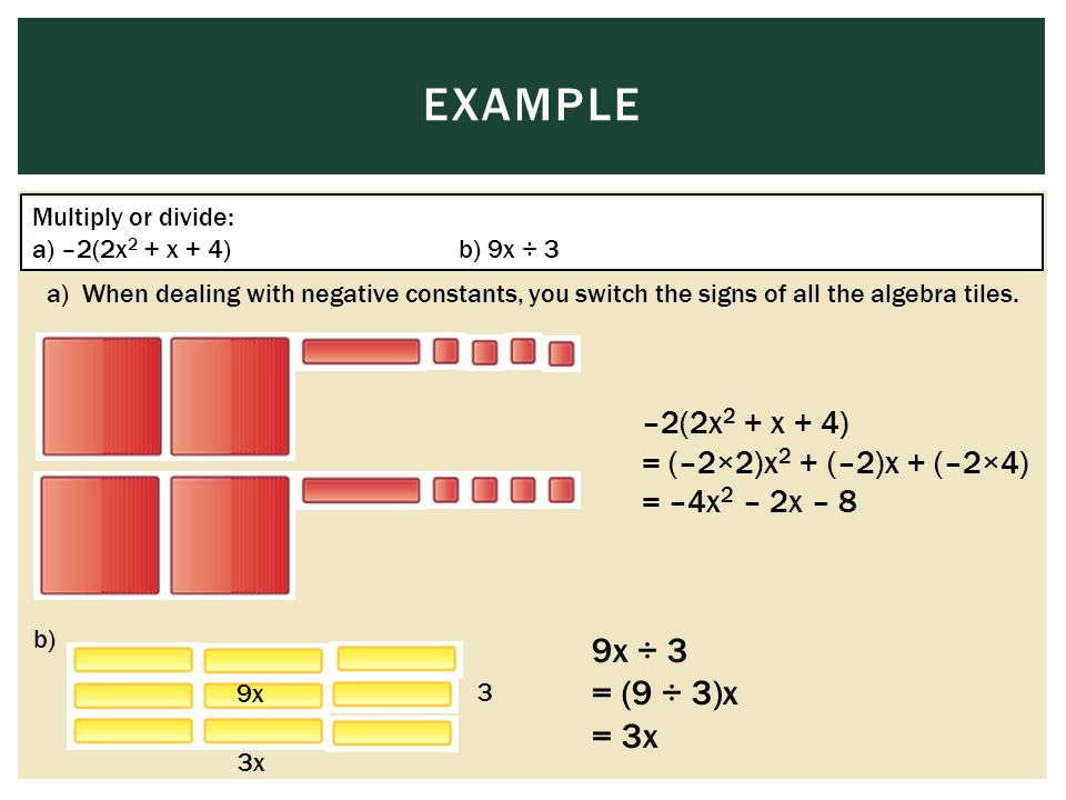 EXAMPLE Multiply or divide: a) –2(2x 2 + x + 4)b) 9x ÷ 3 a) When dealing with negative constants, you switch the signs of all the algebra tiles.