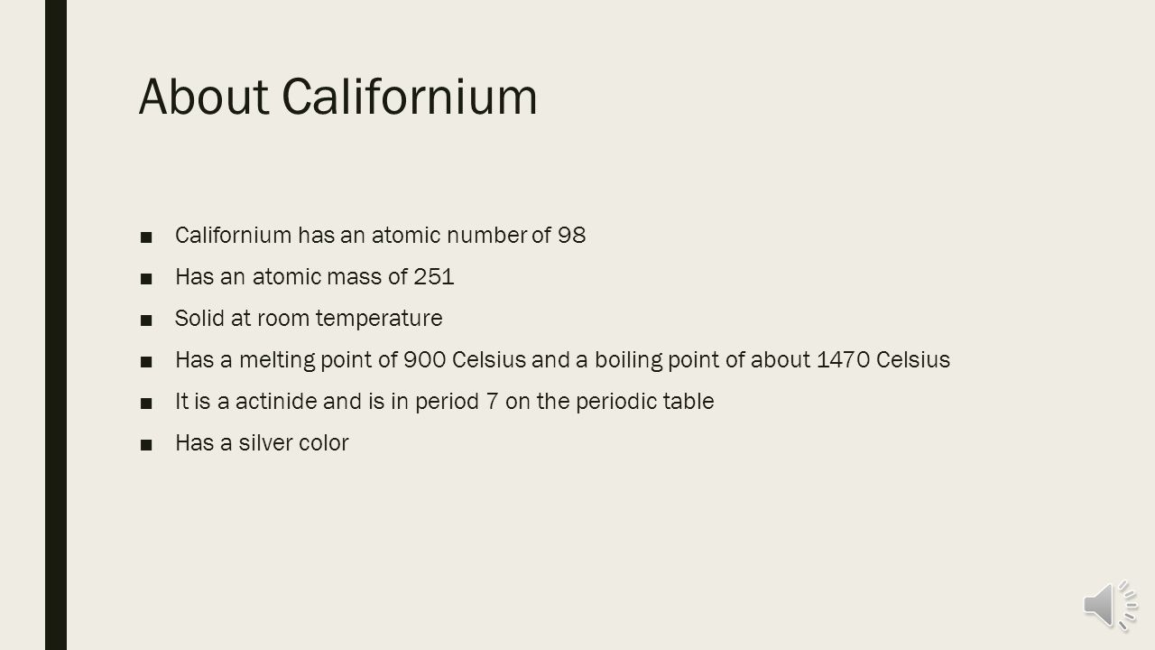 Californium by jimmy wang history californium is a synthetic history californium is a synthetic element meaning that it is not found in nature but gamestrikefo Images