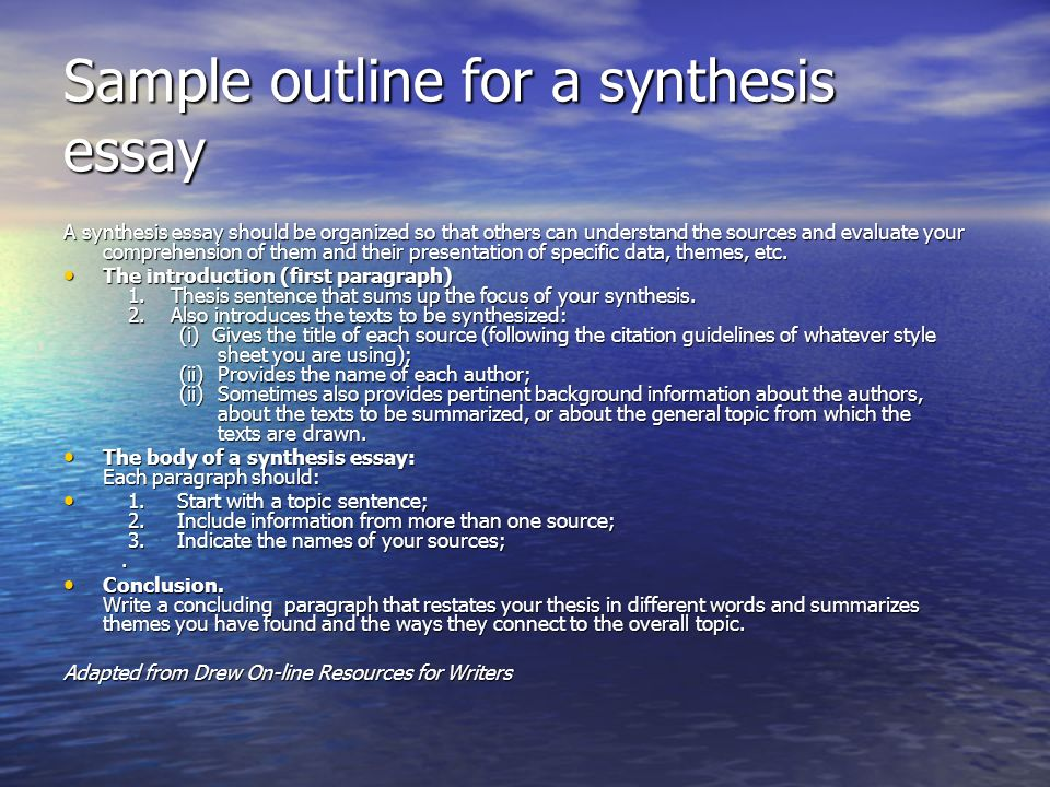"elements of synthesis essay Summarizing and synthesizing: they ""identify key elements and condense important information into their own words during and after reading to solidify meaning."