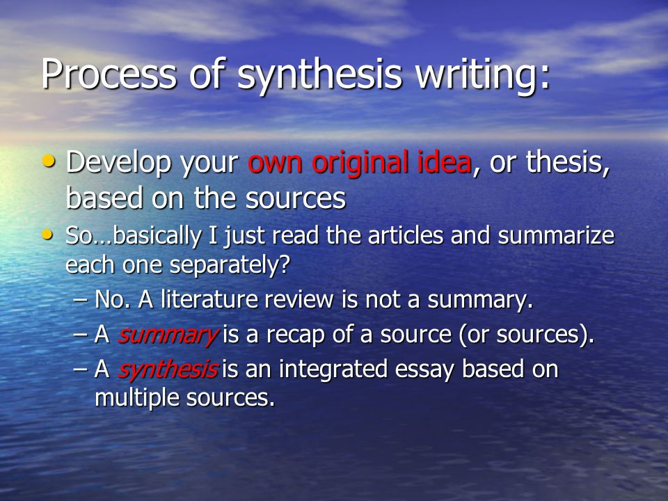 synthesis thesis writing