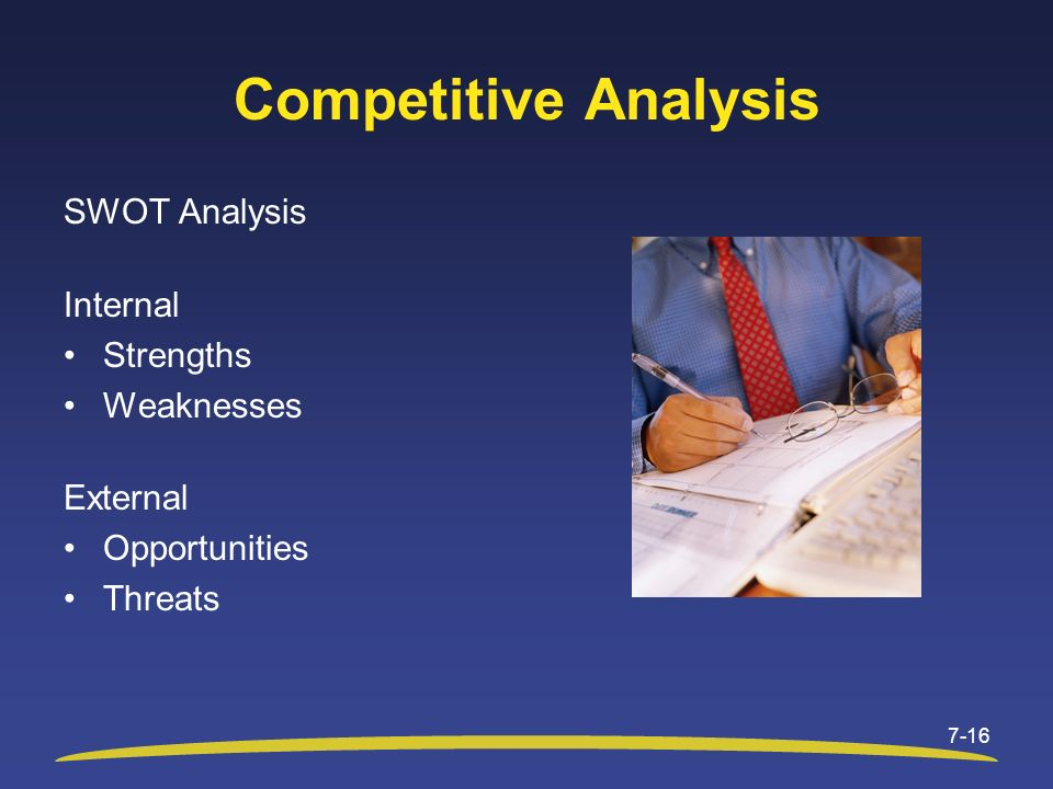 Competitive Analysis SWOT Analysis Internal Strengths Weaknesses External Opportunities Threats 7-16